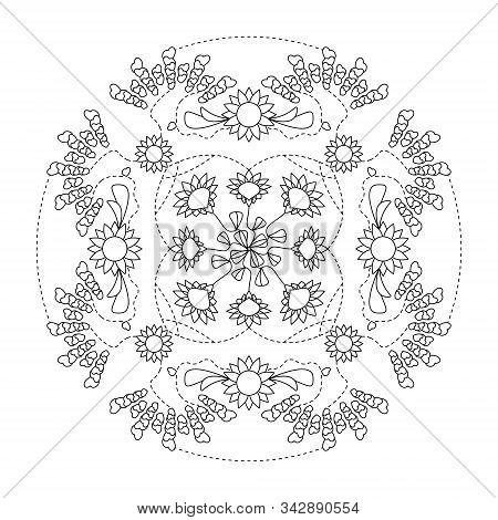 Mandala. Hearts Mandala And Flowers. Coloring Page, Illustration Vector. Art Therapy.