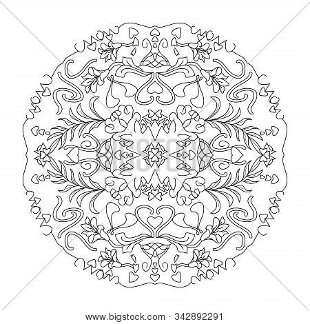 Mandala. Hearts, Flowers And Leaves. Art Therapy. Coloring Page. Decorative Element.
