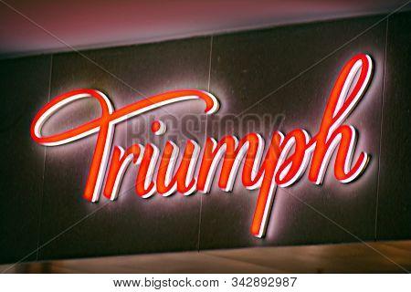 Warsaw,poland. 16 March 2018. Sign Triumph. Company Signboard Triumph.