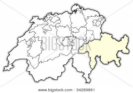 Map Of Swizerland, Graubünden Highlighted