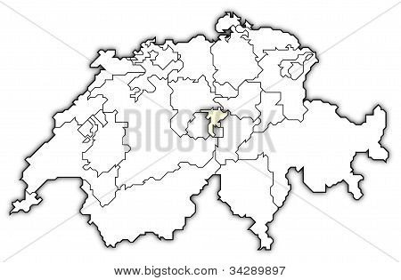 Map Of Swizerland, Nidwalden Highlighted
