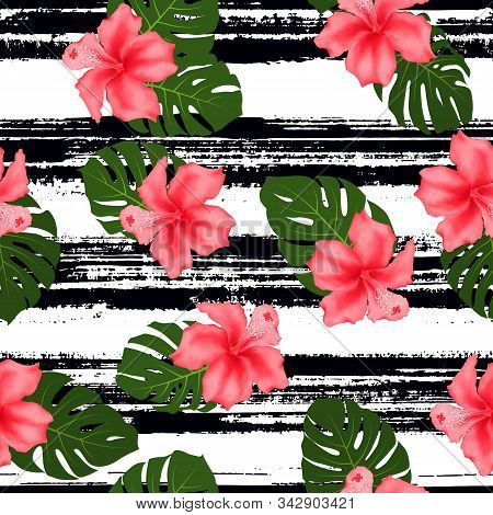 Red Hibiscus Flowers Monstera Leaves Tropical Seamless Striped Pattern. Exotic Floral Wallpaper. Pin