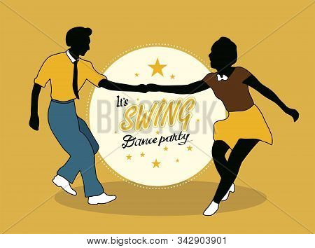 Young Couple Dancing Jazz Swing. Horizontal Template With Text Dance Party. Vintage Vector Style 193