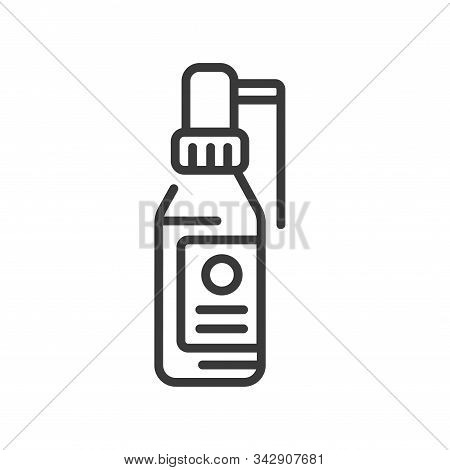 Bottle Throat Spray Line Black Icon. Antiseptic Aerosol. Angina, Pharyngitis, Tonsillitis Cure. Trea