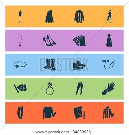 Fashionable Icons Set With Cross Stitch, Trousers, Cardigan And Other Embroidery Elements. Isolated