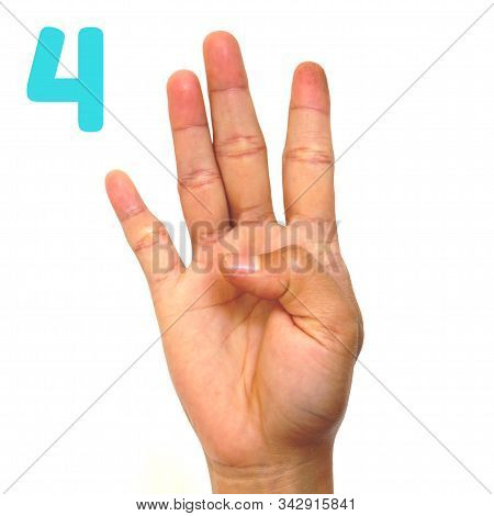 Sign Language Number 4 For The Deaf . Fingerspelling In American Sign Language (asl). Hand Gesture N
