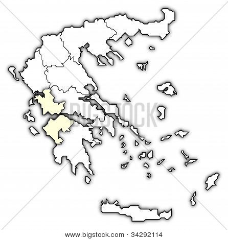 Political map of Greece with the several states where West Greece is highlighted. poster
