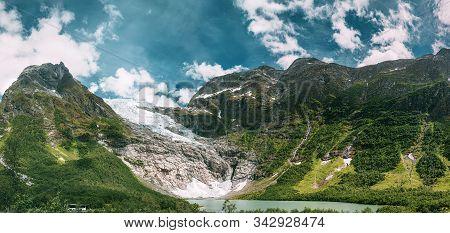 Jostedalsbreen National Park, Sogn Og Fjordane County, Norway. Boyabreen Glacier Landscape In Spring