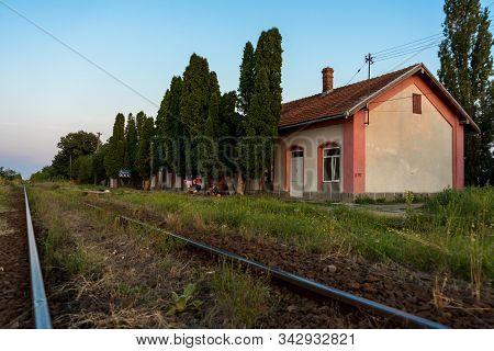 Sacalaz, Romania - August 27, 2019: Sacalaz Train Sation Halt