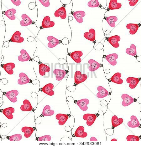 Bright Pink Colorful Valentines Day Holiday Intertwined Heart Shape String Lights Forming Vertical S