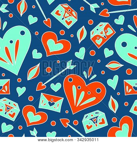 Seamless Pattern For Valentines Day. Background For Wrapping Paper, Cards, Greetings, Press Wall. Do
