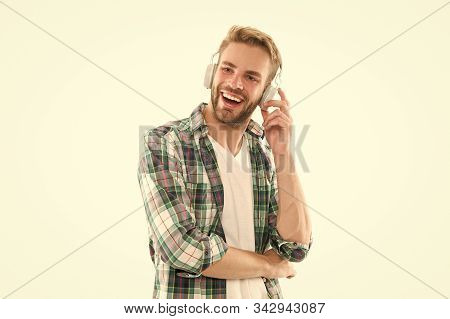 Music Gadget. Music For Everyone. Bearded Man Trendy Hipster Style Smiling On White Background. Happ