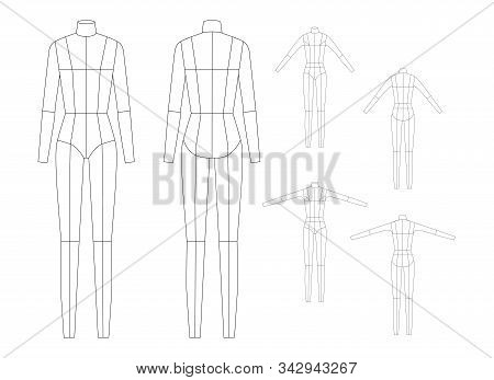 Fashion Template For Women Body Technical Drawings. 9 Head Size For Technical Drawing With Main Line