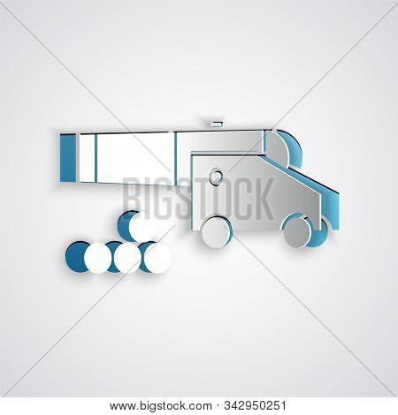 Paper Cut Cannon With Cannonballs Icon Isolated On Grey Background. Medieval Weapons. Paper Art Styl