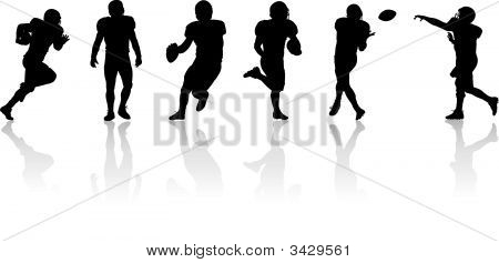 Vector illustration of several American football players in action poster