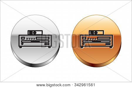 Black Line Music Cd Player Icon Isolated On White Background. Portable Music Device. Silver-gold Cir