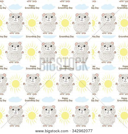 Happy Groundhog Day Patern, Vector, Isolate, Illustration