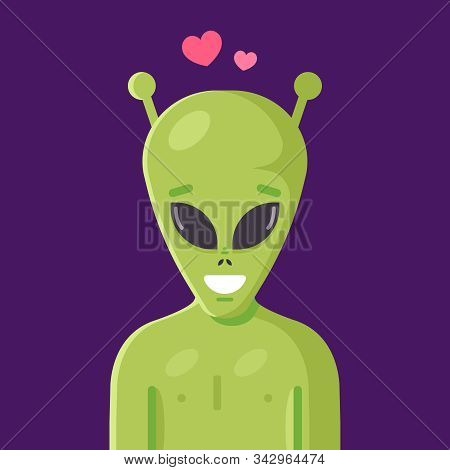 Cute Smiling Green Alien. Humanoid In Love. Flat Vector Character Illustration.
