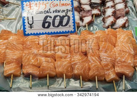 Sashimi For Sale In A Seafood Store In The Kuromon Market In Osaka Japan. Sashimi Is A Japanese Food