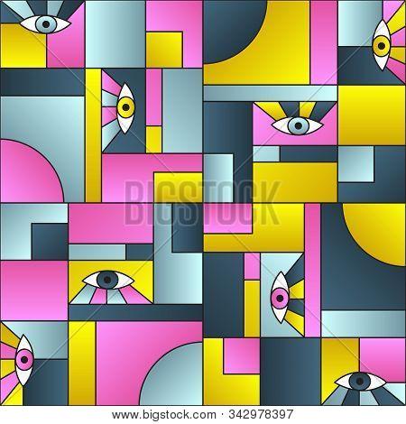 Artistic pattern with eyes in geometric shapes grid mondrian avant garde fashion textile print. Modern background design. Open eyes bauhaus geometric seamless pattern. Interior vector design. poster