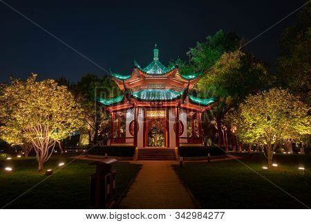 Wuhan, Hubei / China - Nov 20 2019: Night View Of  Chinese Pavillion With Light Decoration At East L