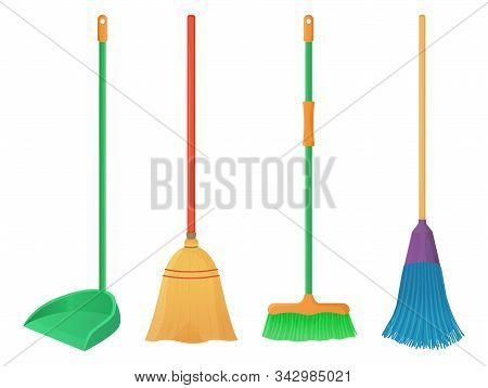 Cartoon Plastic And Wood Broom Set. A Broom Sweeps Dust And Dirt On Scoop. Housework, Cleaning Servi
