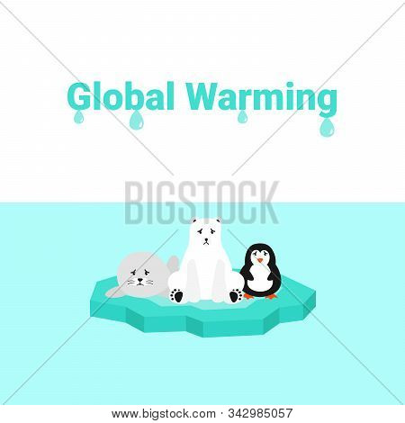 Global Warming Problem Ecology. Sad Scared Animals On Ice Block, Icy Cliff Or Iceberg In The Ocean.