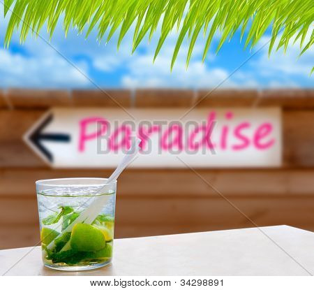 Cocktail mojito in a written paradise word wood wall arrow sign [photo-illustration]