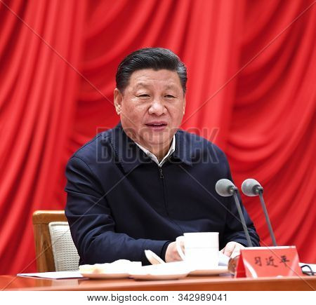 Beijing,china,april 2019,china President Xi Jinping In Conference With His Cadre