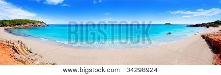 Cala Nova beach in Ibiza island panoramic with turquoise water in Balearic Mediterranean
