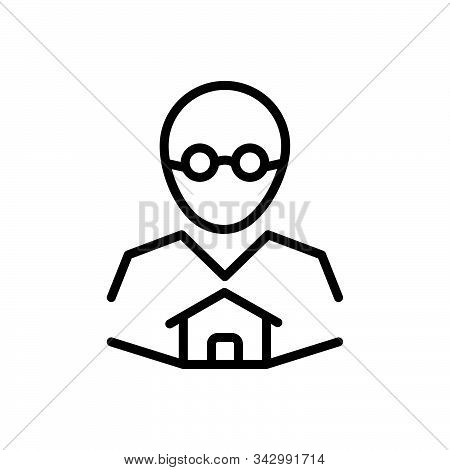 Black Line Icon For Owner Boss Master Proprietor Manager Landlord