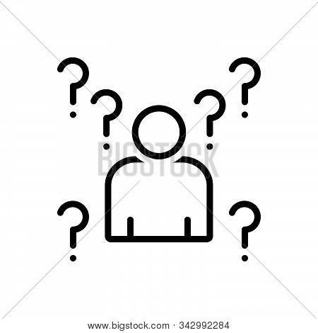 Black Line Icon For Whois Unfamiliar Unknown Ignorant Unaware Unbeknownst Unbeknown Extrinsic