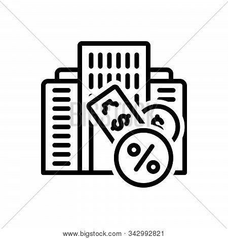 Black Line Icon For Taxation Finance Accounting Revenue Taxes