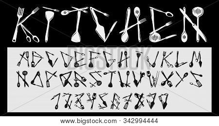 Font From Images Of Tableware Skimmer, Ladle, Small Ladle, Drain Spoon, Slice And Others. Vector Ima