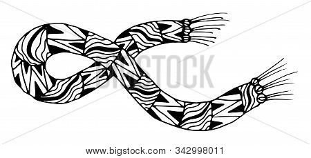 Warm Winter Scarf In Doodle Style. Vector Illustration Of A Knitted Scarf Artistically Decorated Wit