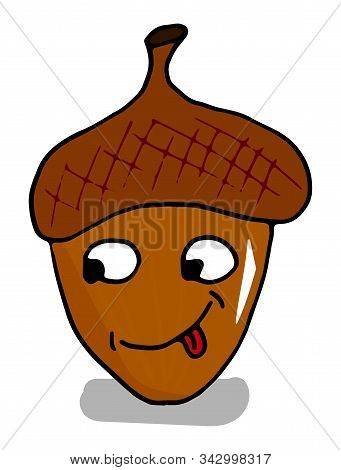 Colorful Acorns Cartoon Character With A Sly Look On A White Background Doodle Style. Hand-drawn Vec