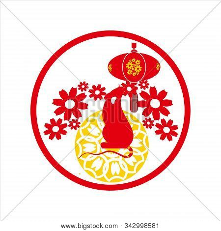 Chinese New Year, Vector Image. Mouse Picture. Red Mouse. Chinese Flower Picture. Red Flower Image.
