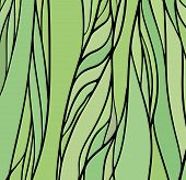 Stained glass window with green color, vector abstract hand-drawn pattern poster