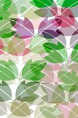 pattern of leaves in pastelcolours on white background poster