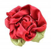 Rose made ??from red and green fabric isolated on white background poster