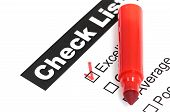 Tick placed in excellent checkbox on customer service satisfaction survey form poster
