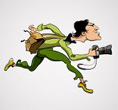 Photographer Person with Camera. Travel Journalist Reporter poster