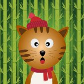 A brown cat with the bamboo background poster
