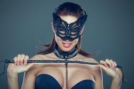 Sexy Brunette Woman In Catwoman Mask Holding Whip Portrait, Bdsm