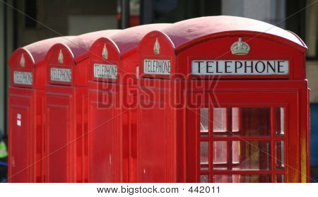 Four Red London Telephone Boxes