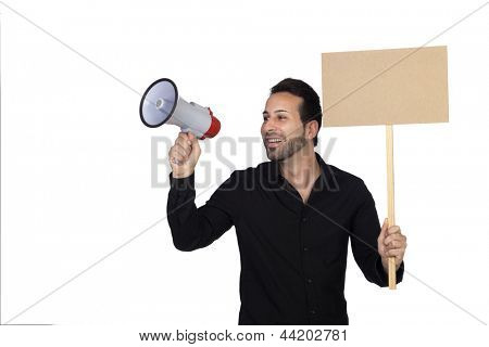 Young businessman with a Megaphone and a poster proclaiming something isolated on white background