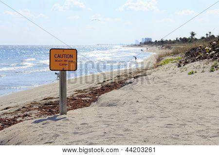 Caution Sign On Dania Beach