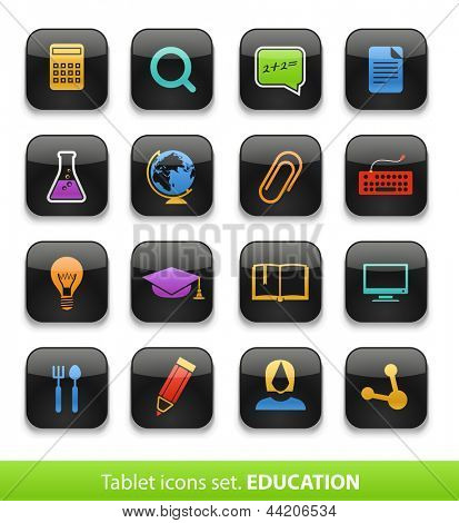 Education. Tablet buttons collection isolated on white