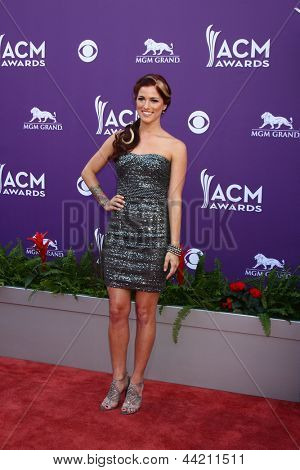 LAS VEGAS - MAR 7:  Cassadee Pope arrives at the 2013 Academy of Country Music Awards at the MGM Grand Garden Arena on March 7, 2013 in Las Vegas, NV