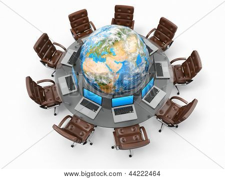 Concept of global business communication. Laptops and armchairs around table with earth. 3d Elements of this image furnished by NASA
